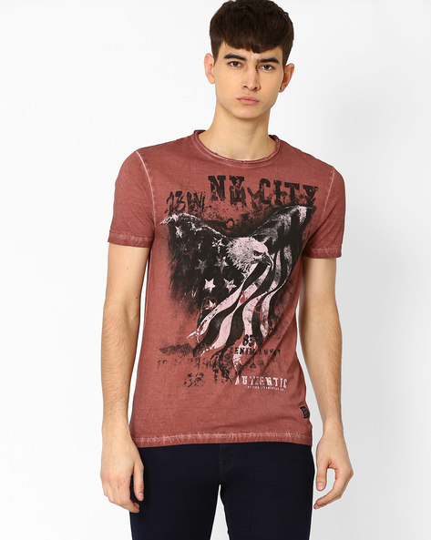 Graphic Print Slim Fit T-shirt By DNM X ( Rust )