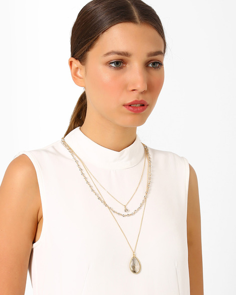 Gold-Toned Layered Necklace By AJIO ( Gold )