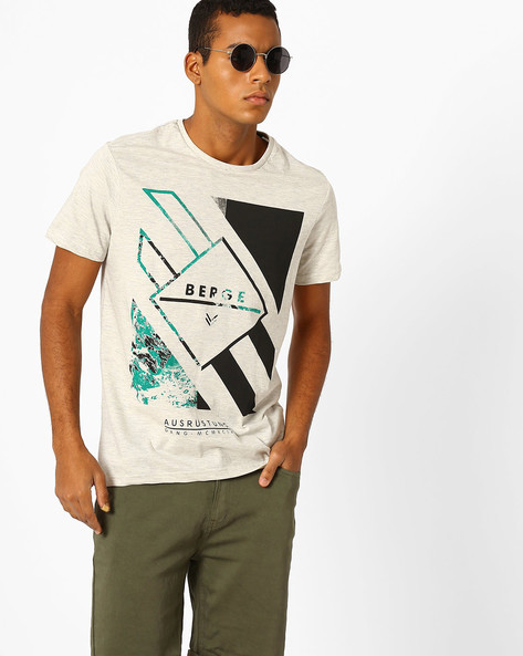 Graphic Print Slim Fit T-shirt By AJIO ( Ecru )