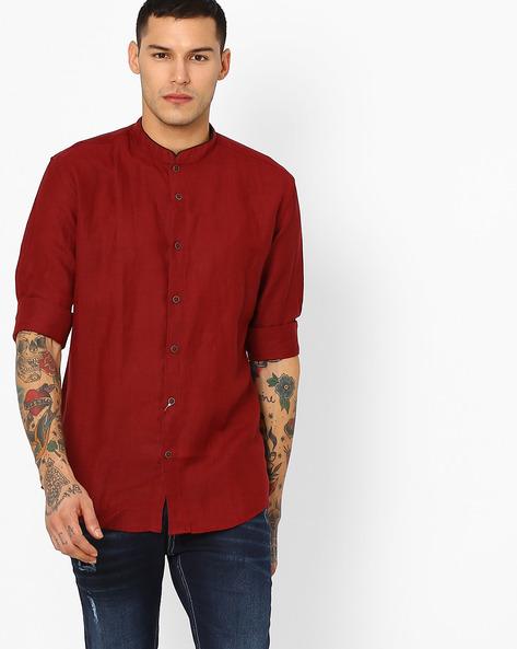 Classic Shirt With Mandarin Collar By British Club ( Maroon )