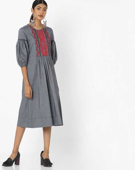 Flared Dress With Puffed Sleeves By Tokyo Talkies ( Black )