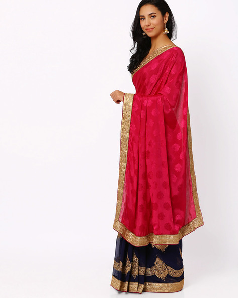 Embroidered Half & Half Chiffon Saree By Akoya ( Pink )