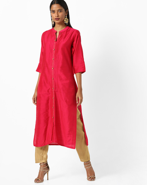 Collared Straight Kurta With Insert Pockets By Shree ( Pink )