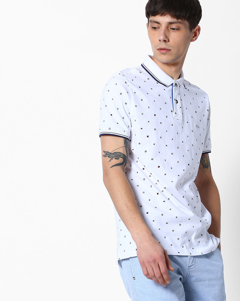 Printed Polo T-shirt By Teamspirit ( Offwhite )
