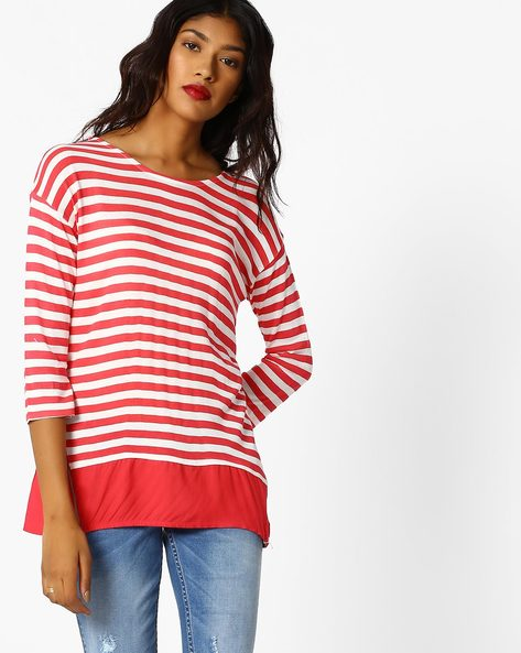 Striped Top With Drop Shoulders By FIG ( Coral )