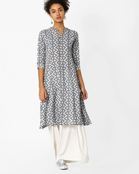 Printed Kurta With Mandarin Collar By AJIO ( Grey )