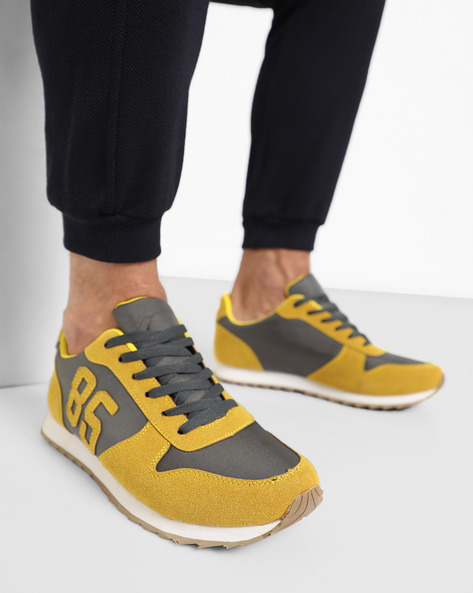 Panelled Sport Shoe With Lace-Ups By AJIO ( Yellow )