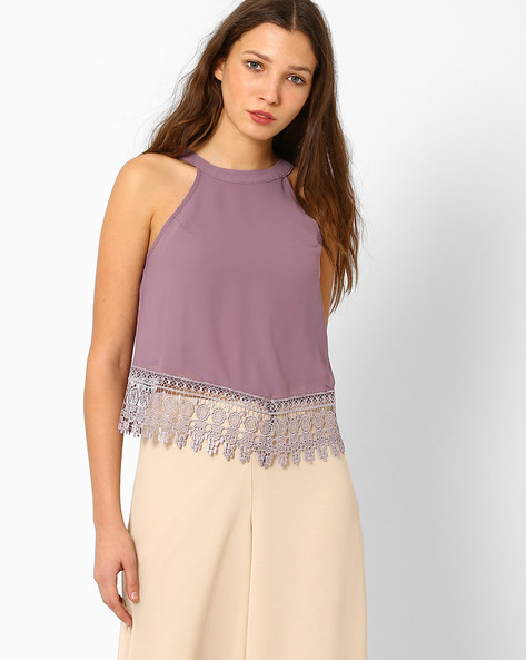 Top With Lace Hem By Glamorous ( Mauve )