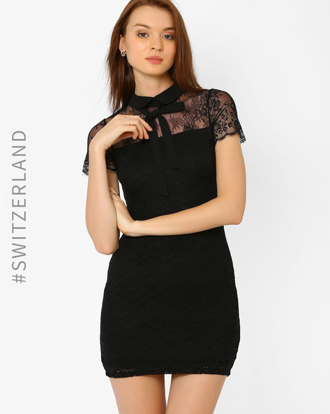Lace Bodycon Dress With Bow Collar By TALLY WEiJL ( Black )