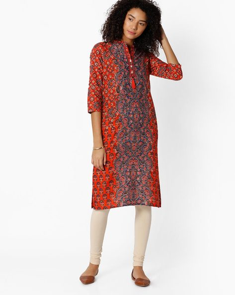 Printed Kurta With Mandarin Collar By Rangriti ( Blue )