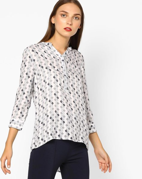 Printed V-Neck Top By BOSSINI ( White )