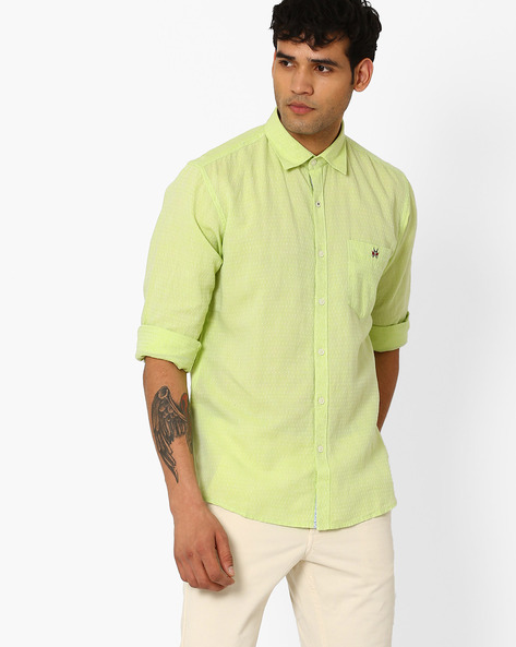 Slim Fit Linen Shirt With Patch Pocket By CRIMSOUNE CLUB ( Green )
