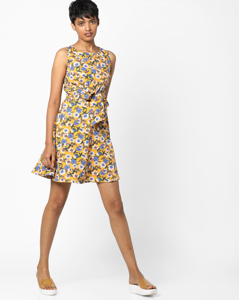 Floral Print Skater Dress With Tie-Up By RIO ( Mustard )