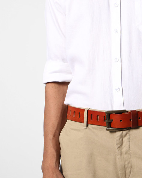 Genuine Leather Belt With Cut-Outs By AJIO ( Tan )