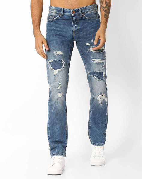 Straight Fit Distressed Jeans By Celio ( Dkblue ) - 460031372005