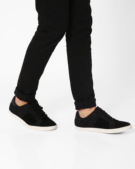 Faux Suede Leather Lace-Up Sneakers By FAMOZI ( Black )