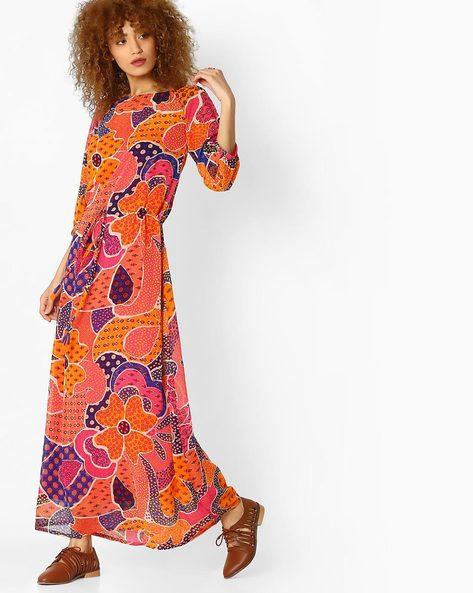 Printed Maxi Dress By Global Desi ( Orange )