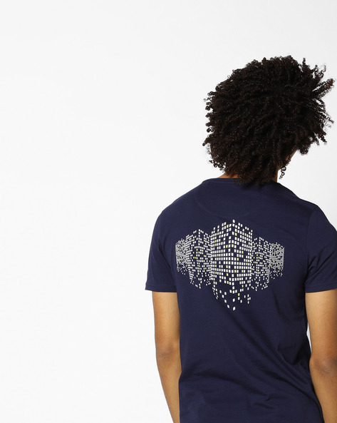 Crew-Neck T-shirt With Printed Back By AJIO ( Blue )