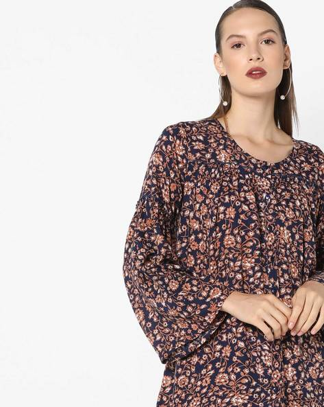 Floral Shirt Top With Bell Sleeves By AJIO ( Navy )