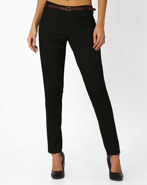Flat-Front Trousers With Welt Pocket By Annabelle By Pantaloons ( Black )