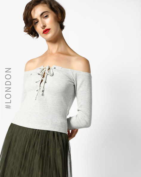 Ribbed Off-Shoulder Lace-Up Top By MDS ( Grey )
