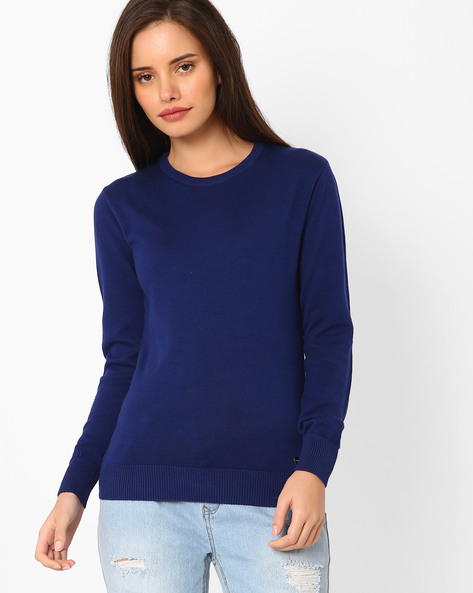 Cotton Crew-Neck Sweater By TAANZ WOMENS ( Assorted )