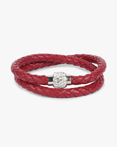 Braided Bracelet With Stone Embellishments By ALPHA MAN ( Maroon )