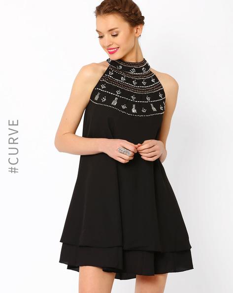 Layered Swing Dress By AJIO ( Black )