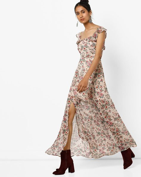 Floral Printed Maxi Dress With Side Slit By AJIO ( Beige )
