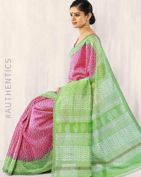 Bagru Print Chanderi Silk Saree By Indie Picks ( Magenta )