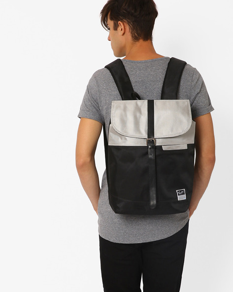 Monochrome Backpack With Buckle Closure By Atorse ( Black )