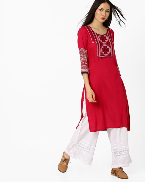 Straight Kurta With Embroidered Detail By AVAASA MIX N' MATCH ( Pink )