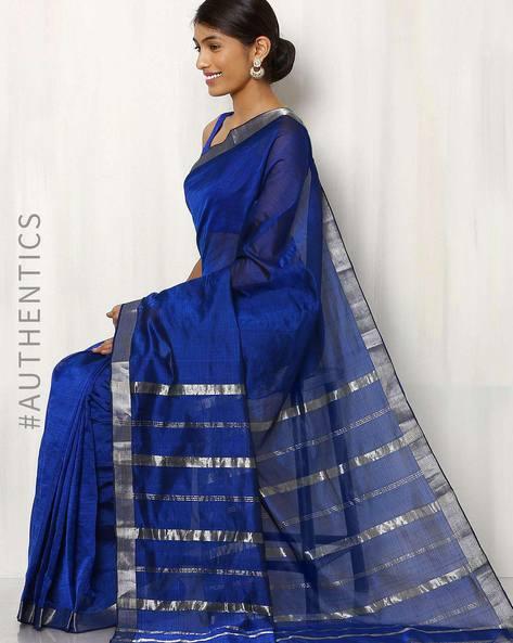 Handwoven Mangalgiri Cotton  Silk Saree By Indie Picks ( Blue )