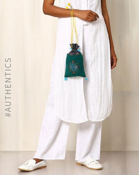 Kutch Soof Hand Embroidery Potli Bag By Indie Picks ( Green )