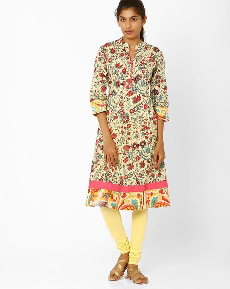 Flared Kurta With Floral Print By AJIO ( Yellow )