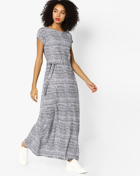 Printed Night Dress With Waist Tie-Up By Mystere Paris ( Grey )