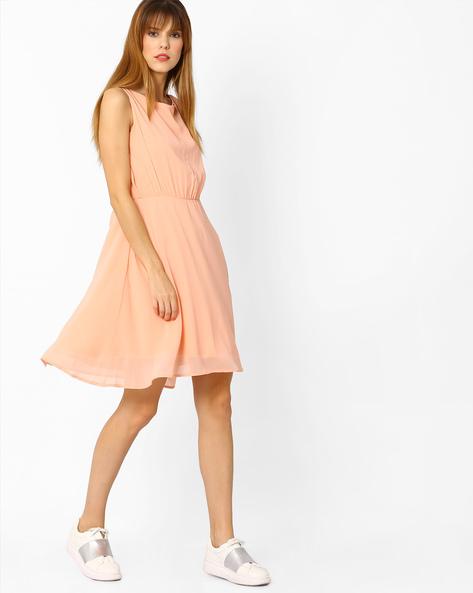 Sleeveless A-line Dress By AJIO ( Pink )