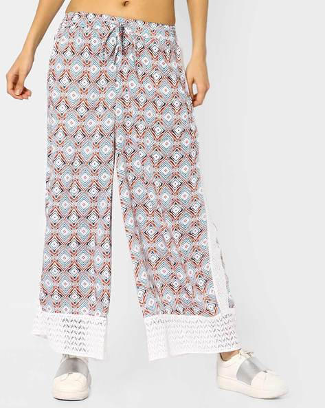Printed Palazzos With Elasticated Drawstring By Akkriti By Pantaloons ( Blue )