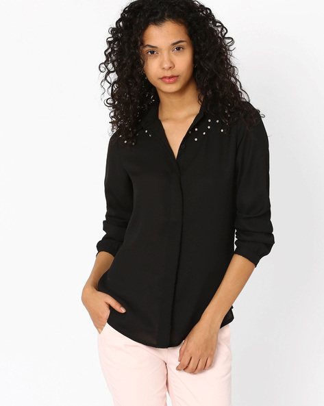 Shirt With Embellished Yoke By The Vanca ( Black )