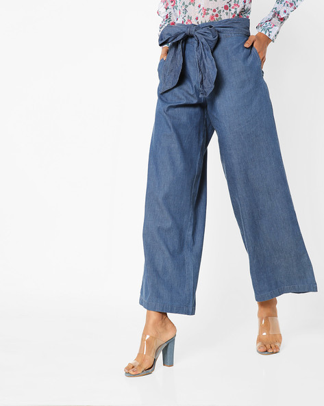 Palazzo Pants With Exaggerated Sash Tie-Up By AJIO ( Darkblue )