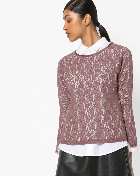 Floral Lace Top With Bell Sleeves By Only ( Brown )