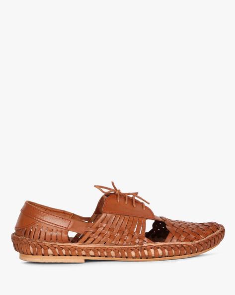 Genuine Leather Basket-Weave Shoes By Estd.1977 ( Tan )