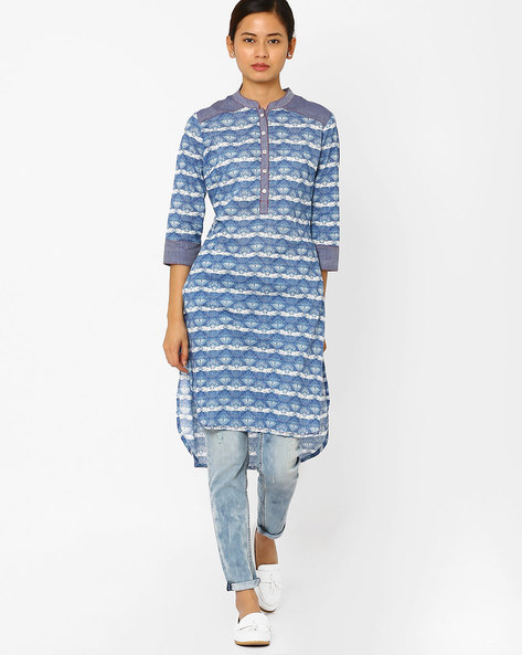 Geometric Print High-Low Kurta By AJIO ( Blue )