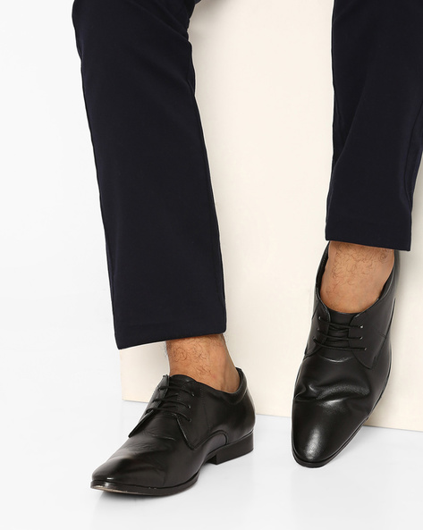 Lace-Up Leather Derby Shoes By FAMOZI ( Black )
