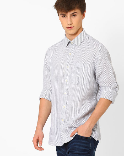 Striped Linen Shirt With Patch Pocket By NETWORK ( Navy )
