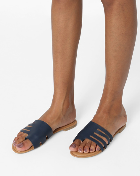 Toe-Ring Flat Sandals With Cut-Outs By AJIO ( Blue )