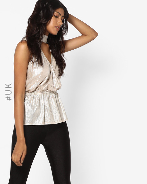 Peplum Top With Halter Neck By INFLUENCE ( Champagne )