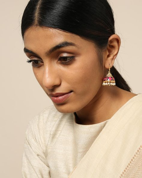 Meenakari Pearl Drops Stone Earrings By Spargz ( Multi ) - 460146253001
