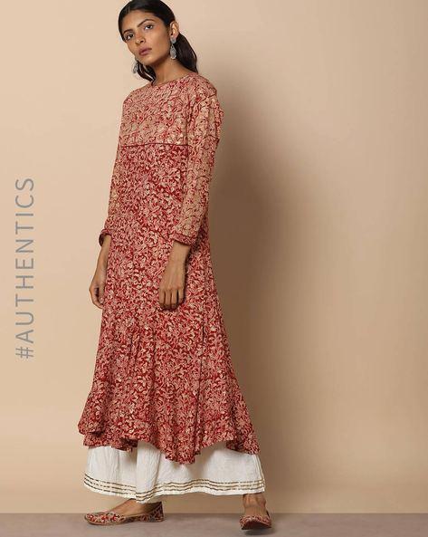 Hand Block Print Kalamkari Print Anarkali Cotton Kurta By Indie Picks ( Red )