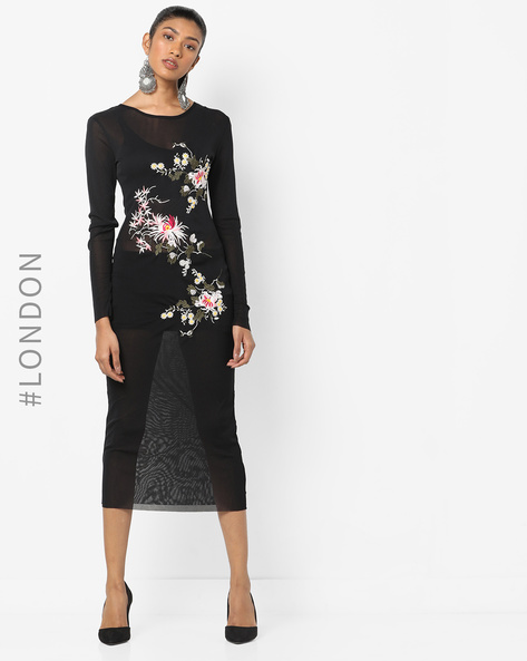 Sheer Bodycon Dress With Floral Embroidery By Glamorous ( Black )
